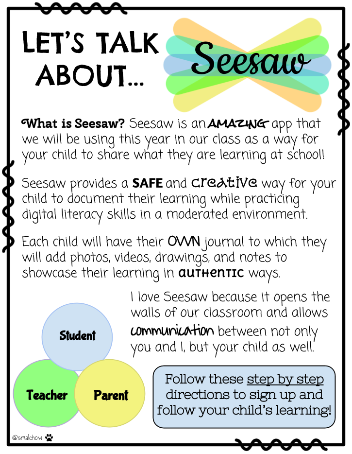 Copy of Seesaw note to parents Open House/Back to School
