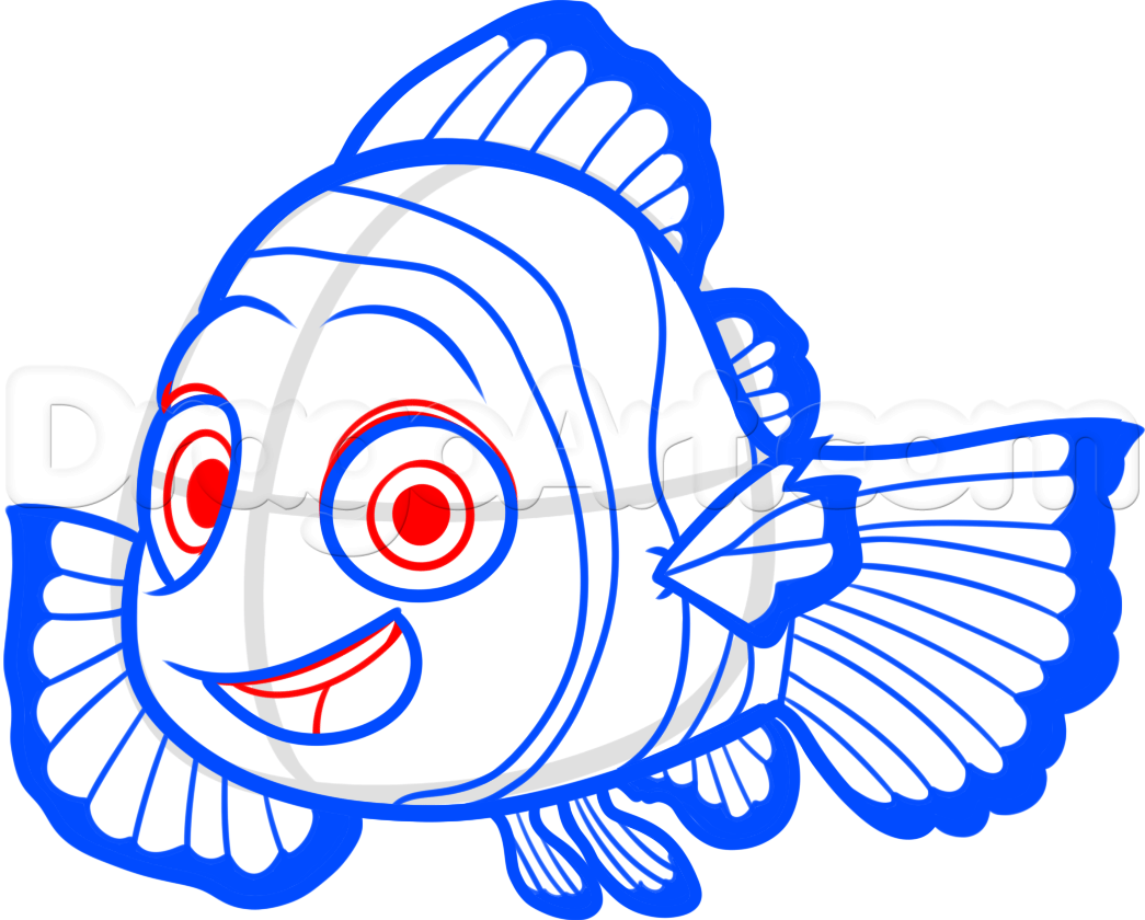 How To Draw Nemo From Finding Dory Step 7 Cartoon Drawings Disney How To Draw Nemo Disney Drawings
