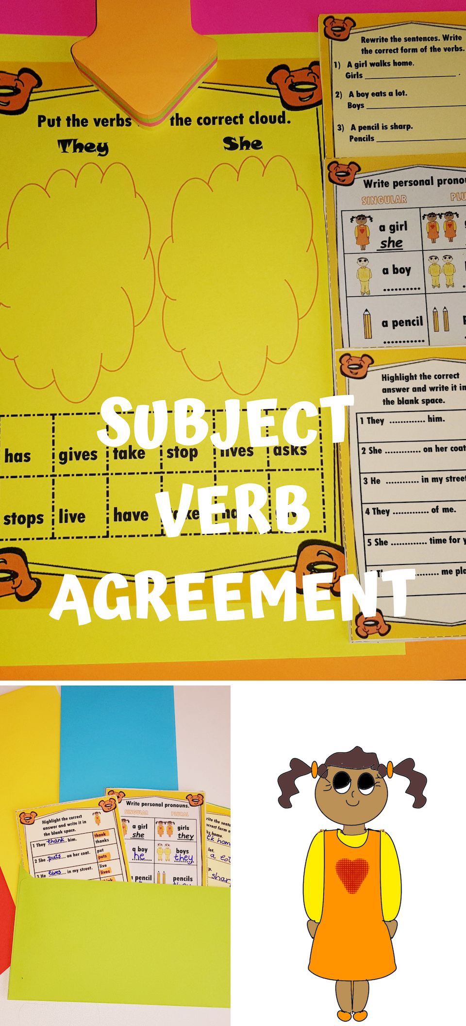 Subject Verb Agreement Worksheets Subject And Verb Subject Verb Agreement Singular And Plural Nouns [ 2112 x 960 Pixel ]