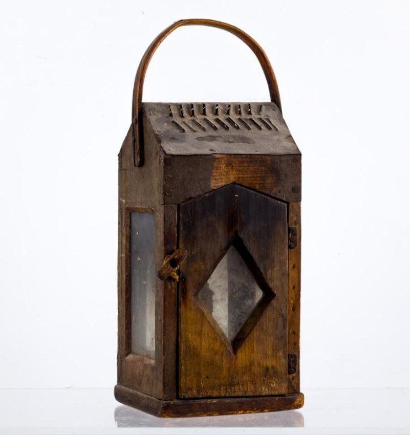 Important 18th C Pine Pierced Tin Lantern On Light Me