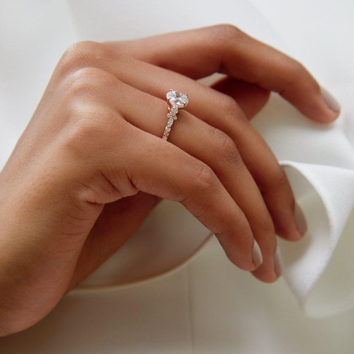 14k Rose Gold Primrose Diamond Ring Glamorous Engagement Rings Stunning Engagement Ring Wedding Ring Hand