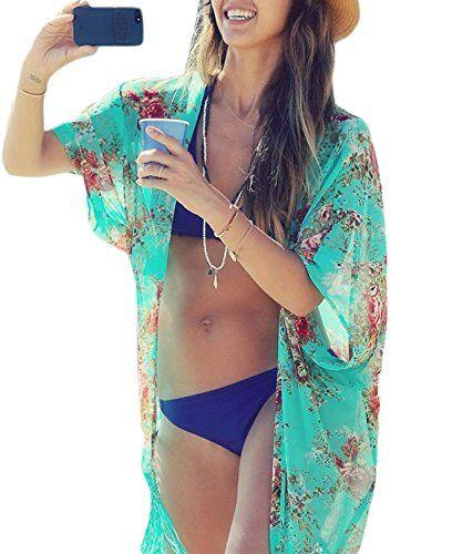 cb145dd707 Yonala Summer Womens Beach Wear Cover up Swimwear Beachwear Bikini Cardigan  - https://
