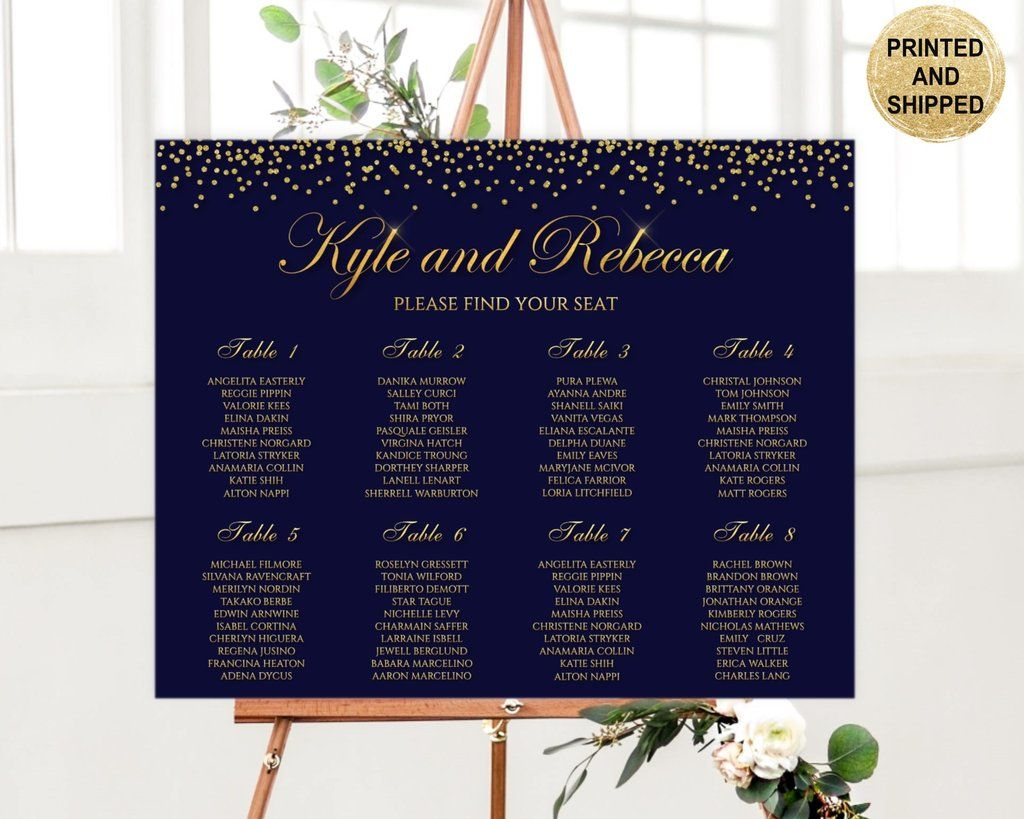 Navy And Gold Wedding Seating Chart Table Printed