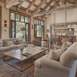 European old world architecture with modern design elements blends harmoniously to create soft rustic warmth in this vineyard estate.