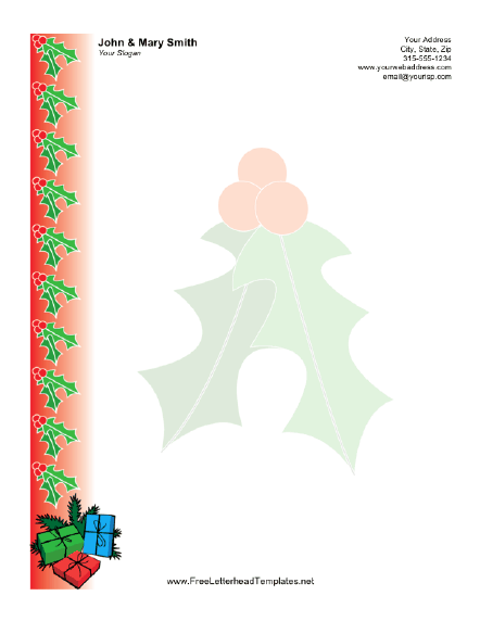 Christmas Letterhead With Holly Berries And Gifts Lining The
