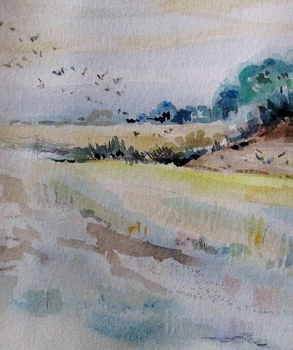 Aquarelle, pastel, tableau, peinture, paysage de campagne, style