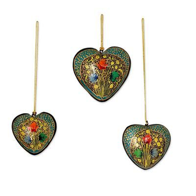 Papier mache ornaments, 'Floral Heart' (set of 3). Shop from #UNICEFMarket and help save the lives of children around the world.