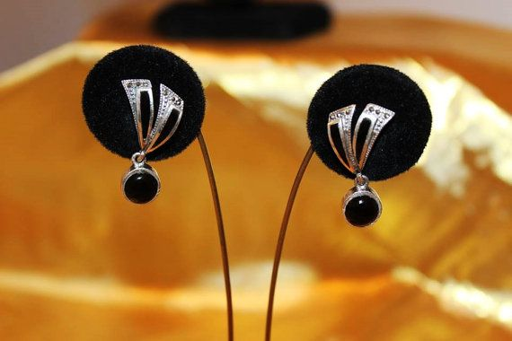 Vintage Sterling Silver Onyx Marcasites by MyJewelsBoutique