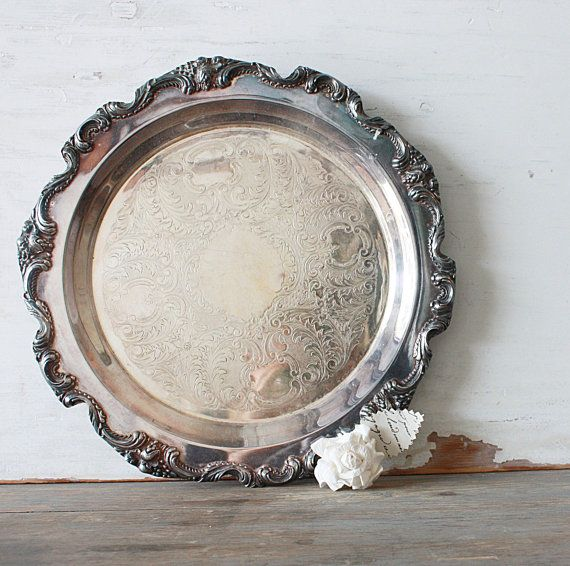 Vintage Silverplate Scalloped Footed Tray by by ClothandPatina, $68.00