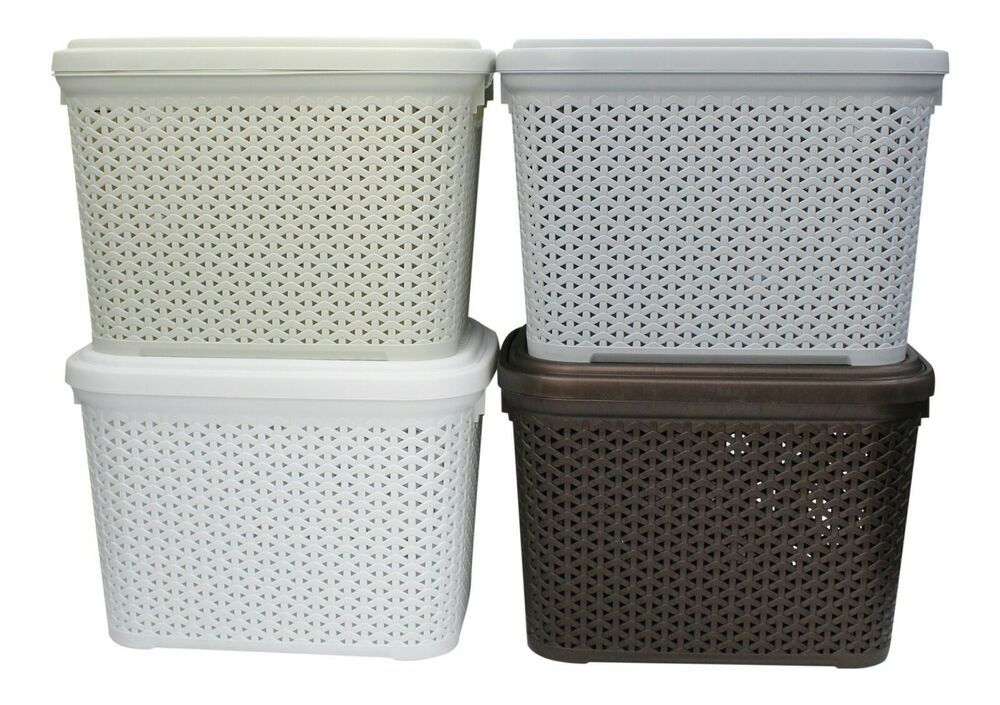 Rattan Plastic Large Storage Box 30 Litre Stackable With Swing Lid Hobby Storage Container Homes Plastic Container Storage Storage Containers Large decorative storage boxes with lids