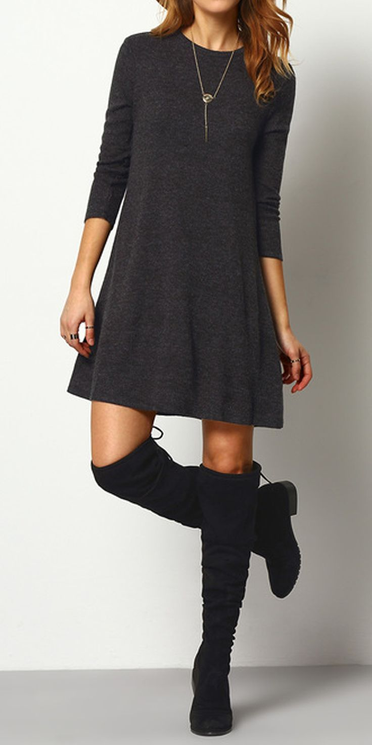 Ribbed Long Sleeve Sweater Dress DARK GREY | MakeMeChic.COM | Dark ...