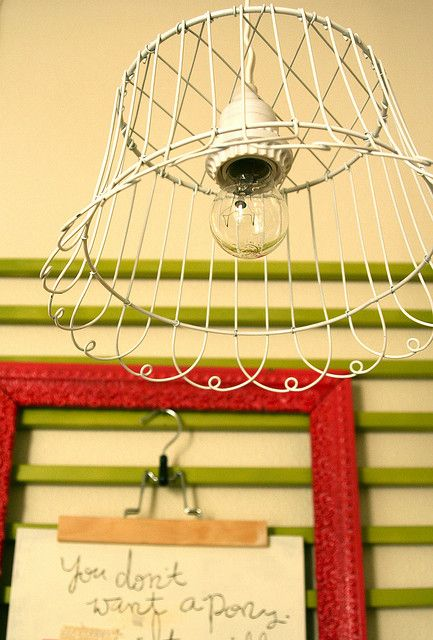 DIY light fixture with basket - Also love the background memo station!