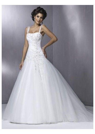 Elegant  straps and all although i wouldn ut take the embroidery so low on the waist Princess Shoulder Straps A Line Appliqued Skirt Tulle Wedding Dress