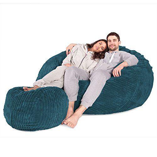 c1000 L Memory Foam Bean Bag   Footstool Set - Agean - GIANT XXL size by ddaa754ed7664