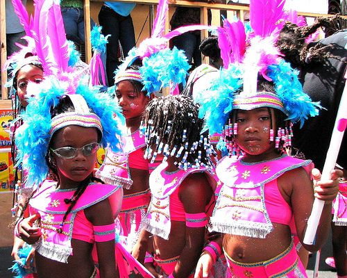 little girls in carnival costumes in Trinidad