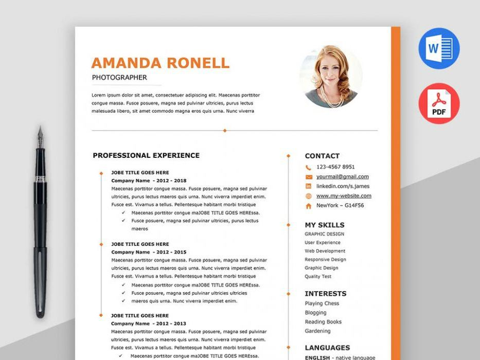 Here is free timeline Word resume template with elegant
