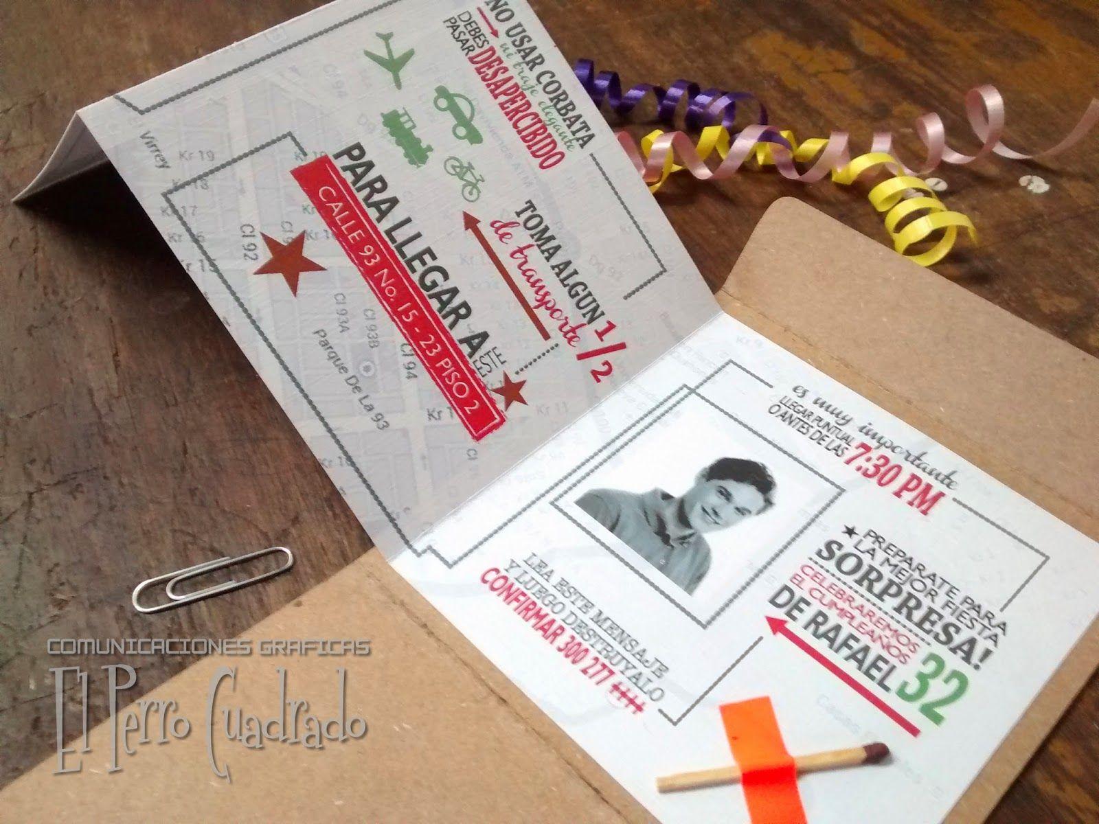 tarjetas para fiesta sorpresa el perro cuadrado