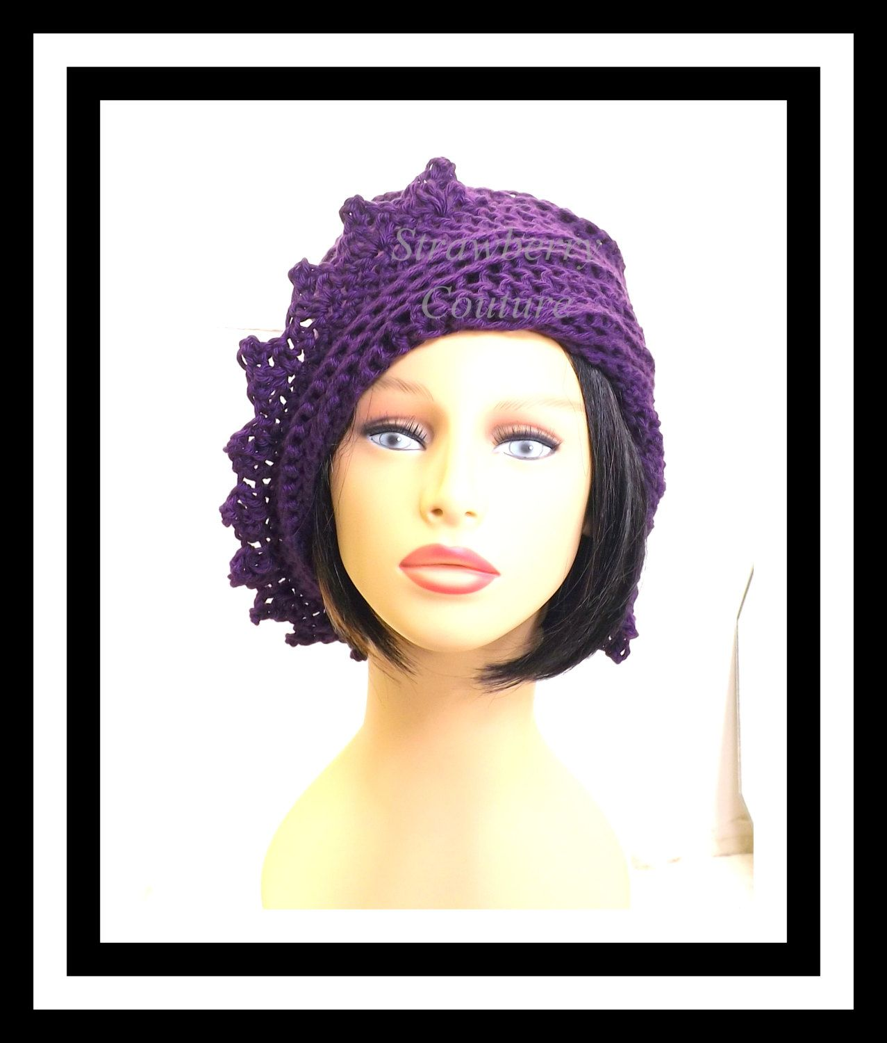 e5ca5564be0 Purple Crochet Hat Womens Hat Summer Hat for Women Crochet Beanie Hat  Purple Hat Cotton Hat LAUREN 40.00 USD by  strawberrycouture on  Etsy -  MUST SEE!