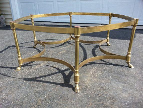 Good Labarge Table Italy Brass Hoof Foot Hexagon Hollywood Regency Coffee Table