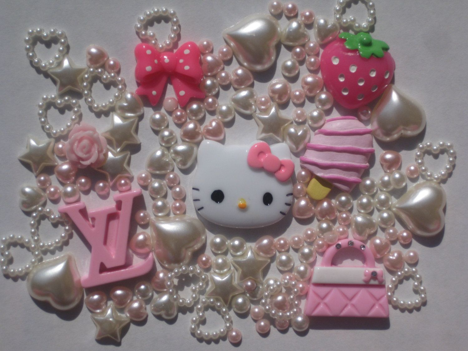 DIY Hello kitty decoden resin cabochon set for cellphone