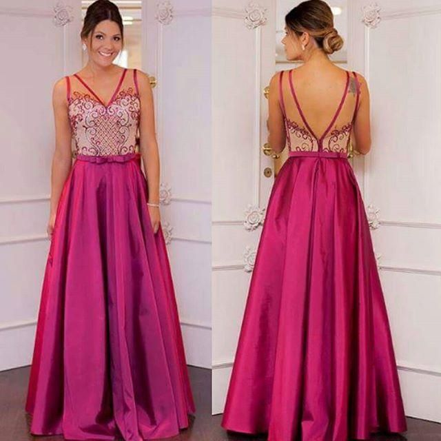 Pink Prom Dresses,Pink Prom Dresses,Long Satin Prom Gown,Evening ...