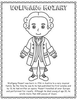 Wolfgang Mozart Famous Composer Informational Text Coloring Page