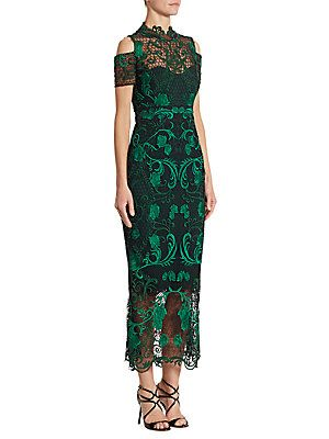 9e86f448302f9 Marchesa Notte Cold-Shoulder Guipure Lace Midi Dress
