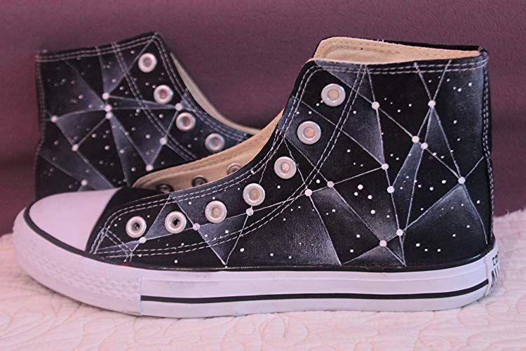 4c79c213deec Men Women Shoes Galaxy Hand Painted Custom Black High Top Canvas Sneaker  Presents