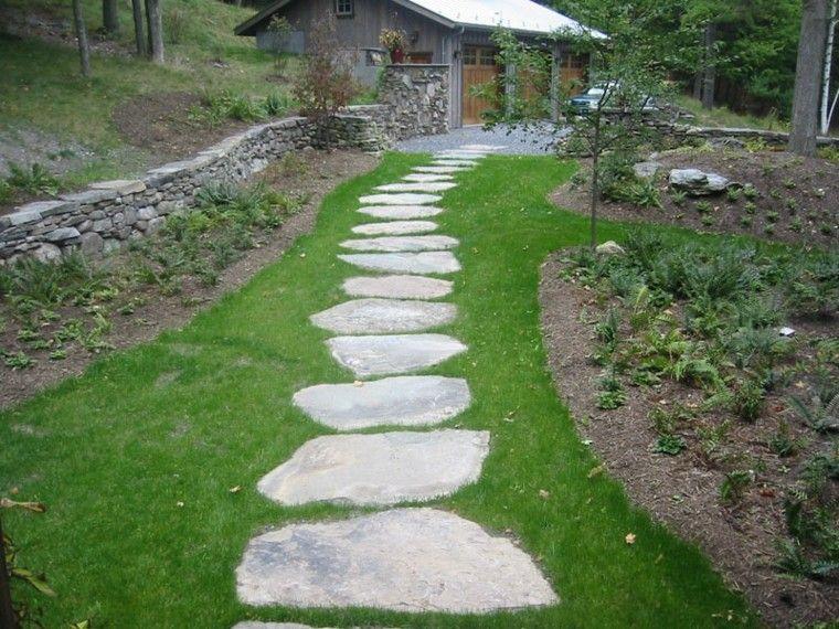 Camino De Jardin Ideas Atractivas Piedras Losas Y Baldosas - Piedra-jardin