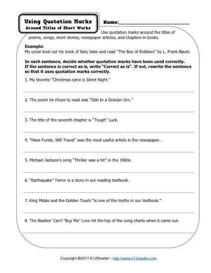 Quotation Marks | K12 | Punctuation worksheets, Quotations ...