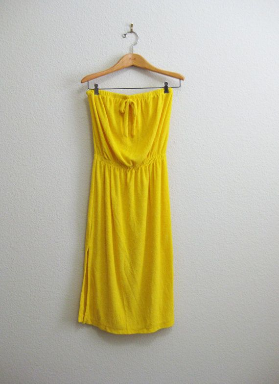 c4f214b133 Yellow Strapless Terry Cloth Dress - Beach Swim Cover-up Gorgeous bright  yellow terry cloth strapless dress with very high slits up the side.