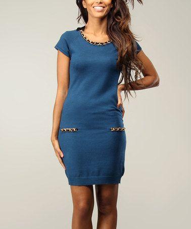 Look what I found on #zulily! Blue & Gold Chain Scoop Neck Dress #zulilyfinds