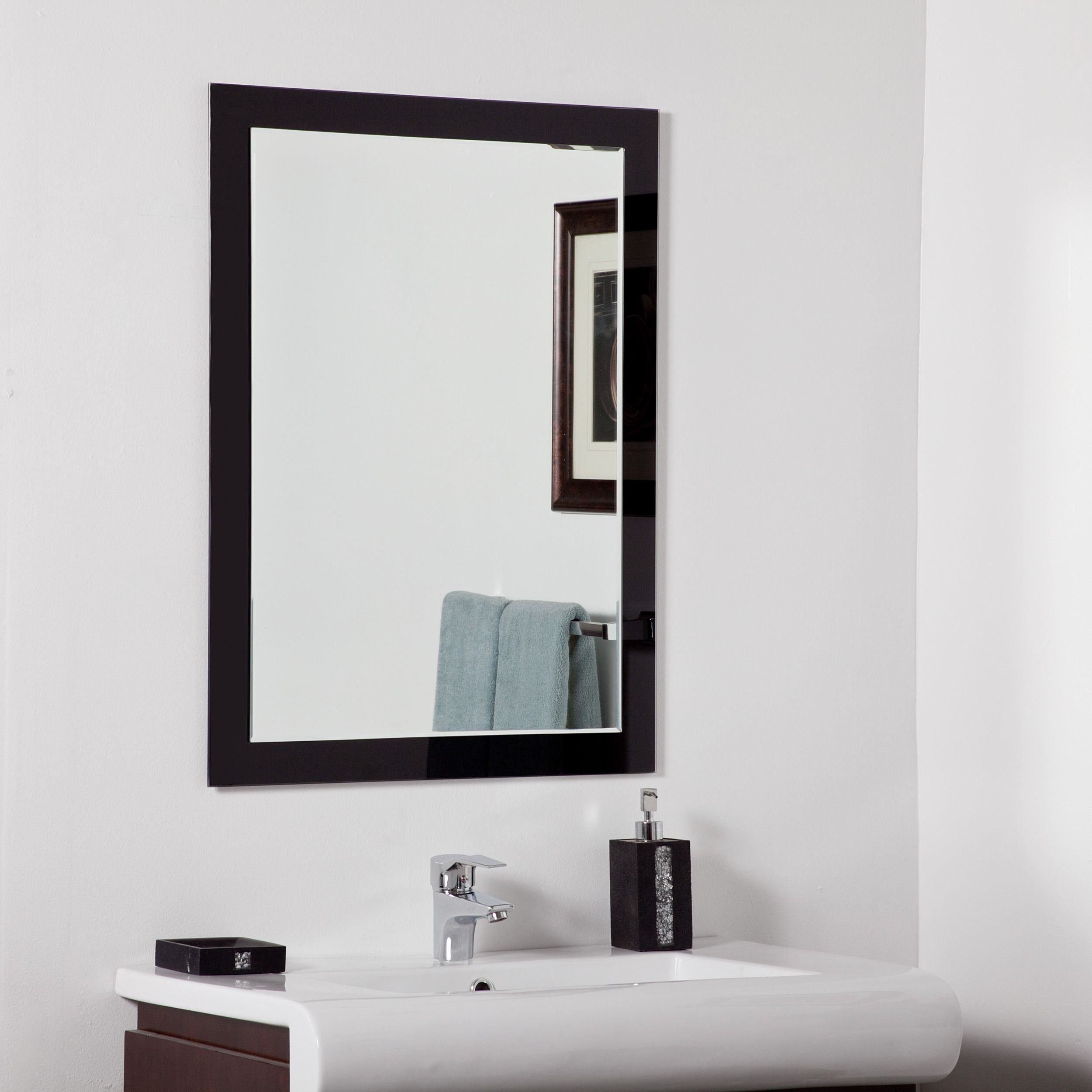 Aris Modern Bathroom Mirror, Silver, Decor Wonderland | Apartment ...