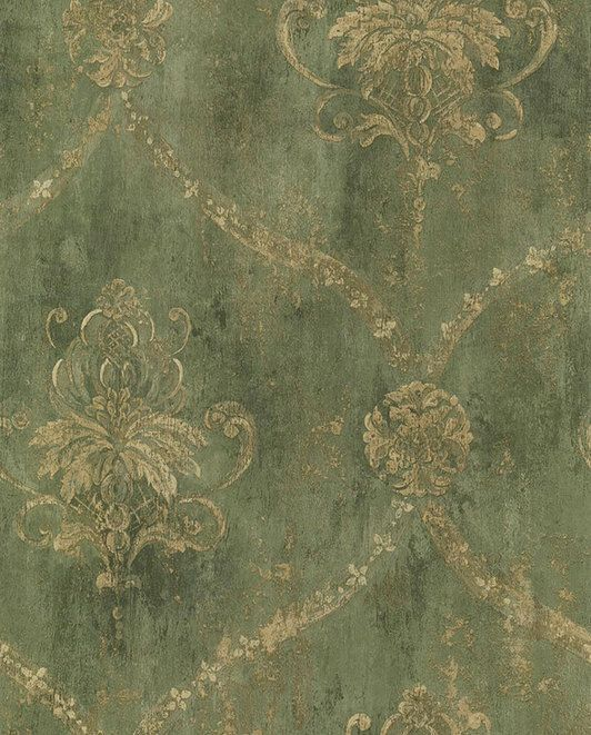 Gold Lattice and Floral Damask on Distressed Green, Antiqued, Aged