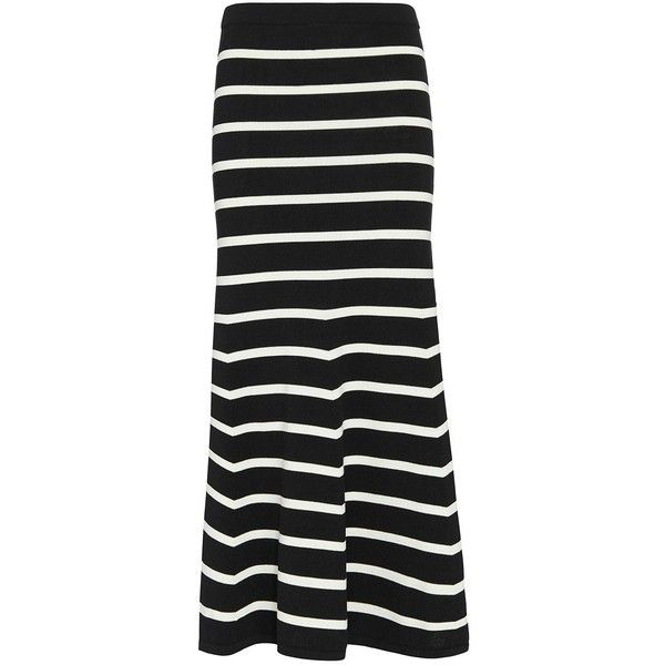 Cardigan Striped Knit Flare Maxi Skirt ($250) ❤ liked on Polyvore ...