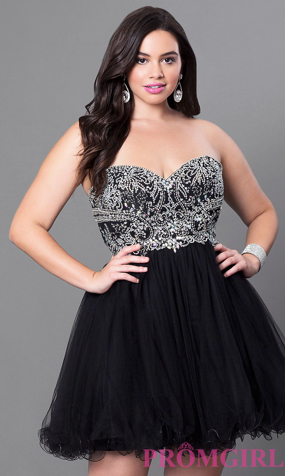 Image of short plussize embellished strapless corset dress detail