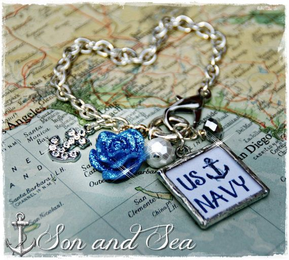 US Navy rhinestone anchor charm bracelet by Son and Sea free US shipping for Navy mom, wife, girlfriend, milso deployment, homecoming , PIR