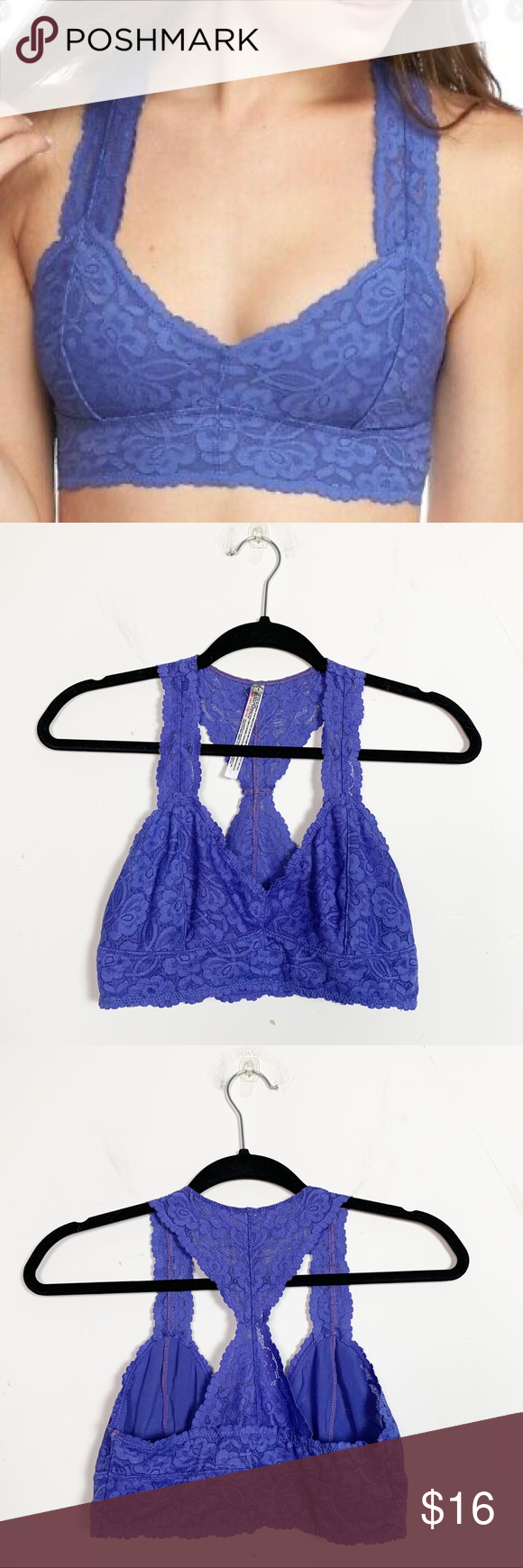Free People Scalloped Floral Galloon Lace Racerback Bralette SZ XS//TP