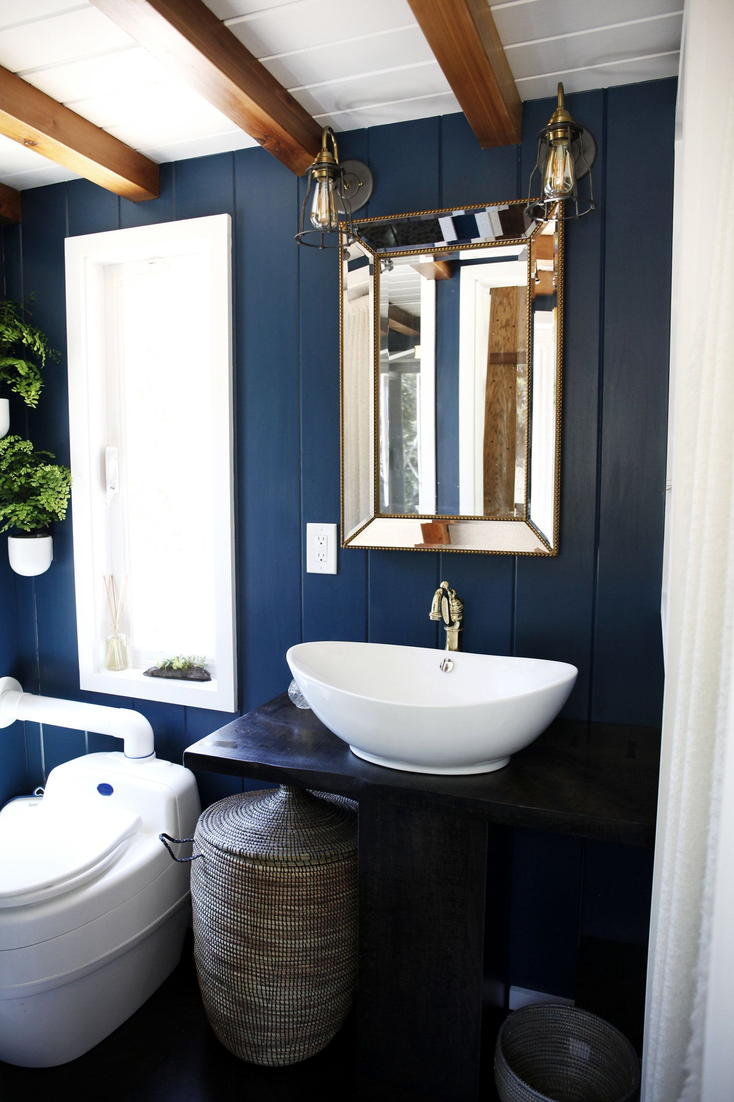 A 300 Square Foot Tiny House In California Blue Bathroom Tiny