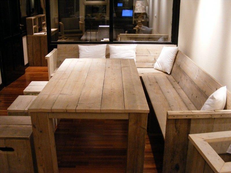 Bank met zij en rugleuning gemaakt van steigerhout for Steigerhout eethoek