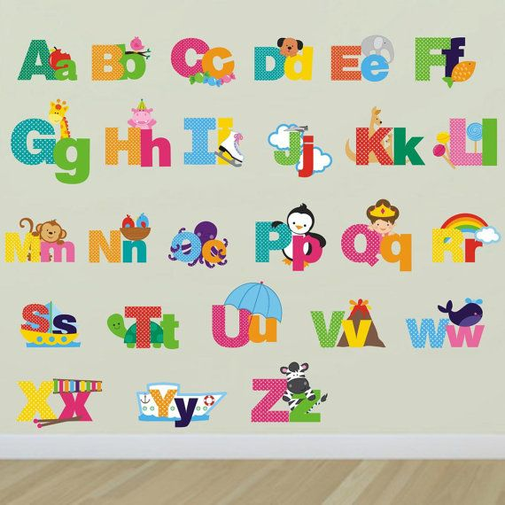 Picture Alphabet Wall Decals Letters Wall Stickers Letter Wall