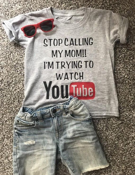 a4ca8c24bf7 Funny kids shirt that reads, Stop Calling My Mom!! Im Trying To Watch  YouTube. This shirt comes in a variety of sizes from 12 months up to Kids  XL.