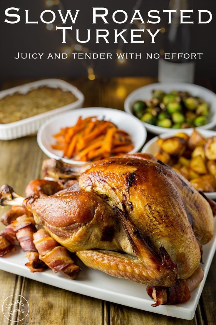 This Slow Roasted Turkey is juicy and so simple. Without any basting, brining or intricate butter rubbing bacon weaving, you get a moist delicious meat. Plus it can be cooked overnight leaving you with plenty of oven space on the big day. Perfect for Christmas and Thanksgiving. Recipe by Sprinkles and Sprouts | Delicious food for easy entertaining #christmas #turkey #christmasdinner #thanksgiving #roastturkey