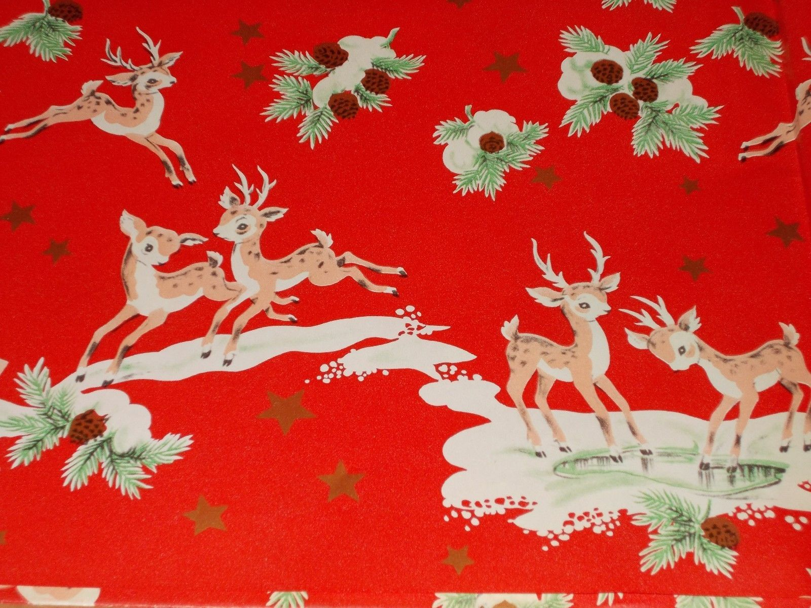VTG CHRISTMAS WRAPPING PAPER GIFT WRAP 1950 GOLD REINDEER LEAPING