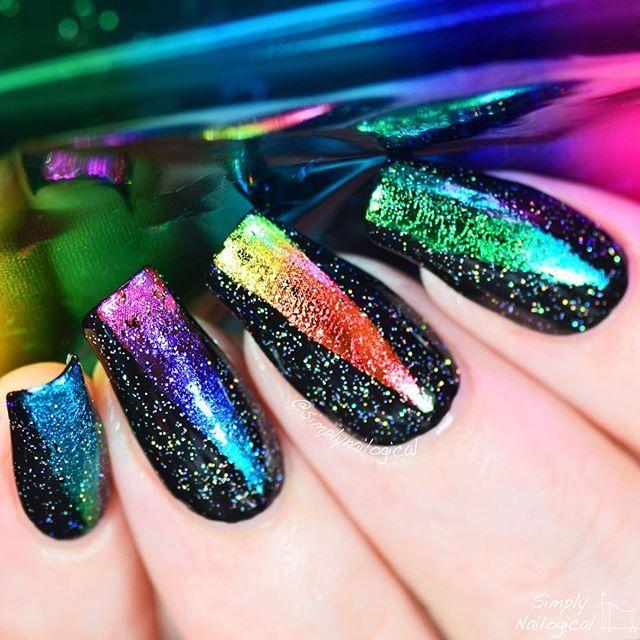 Rainbow foil nail art with holo   Nails   Pinterest   Arte de uñas y ...