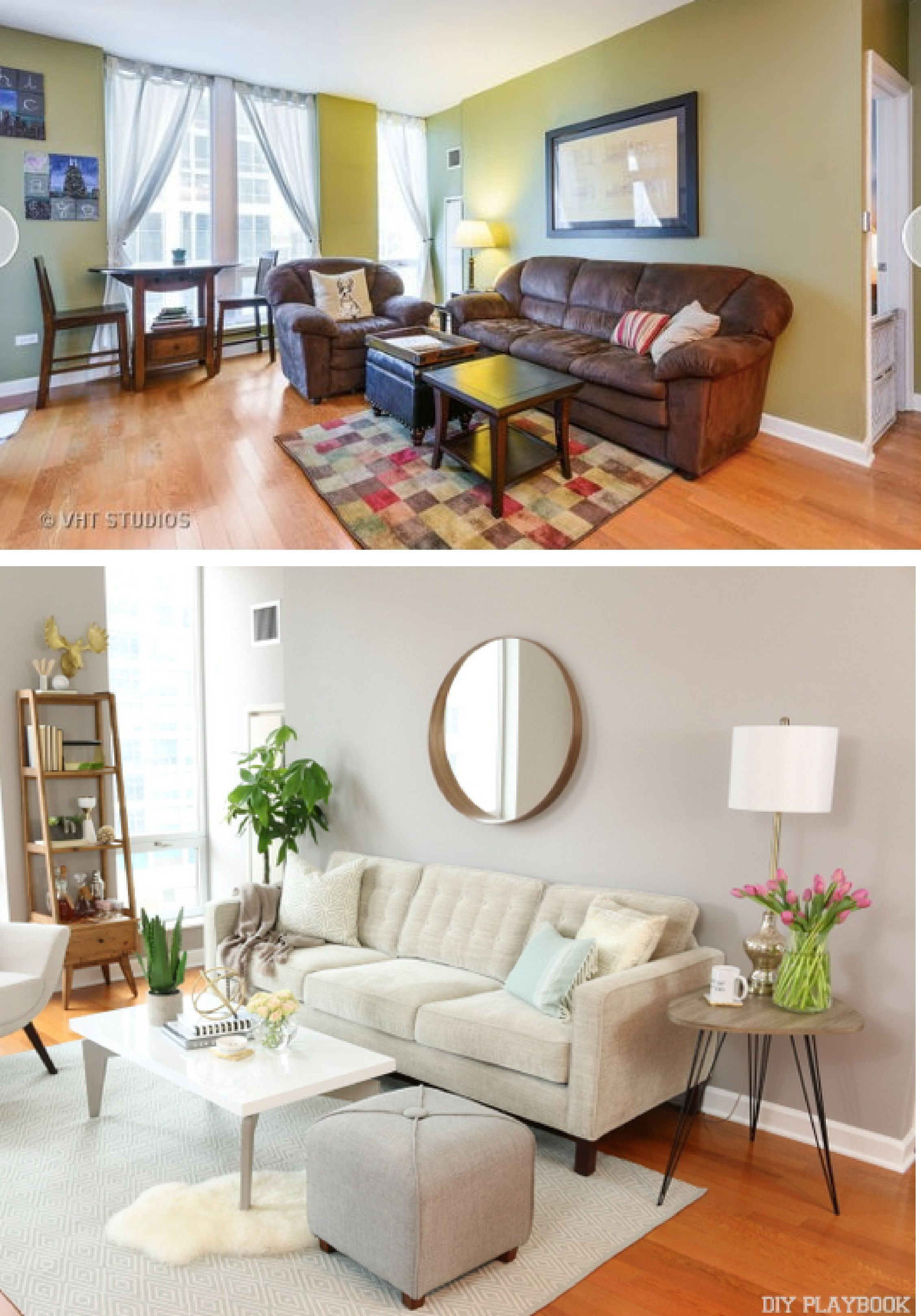 Bright condo living room makeover before after new - Grey paint living room ...