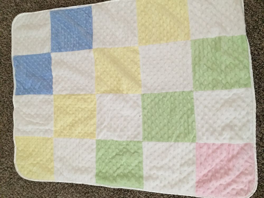 Just Born Yellow Blue Pink Green White Baby Blanket Minky Dot Patchwork  e7fd884e1