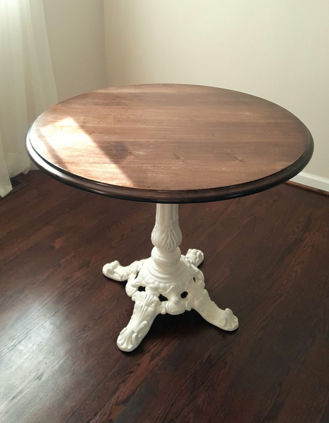 Antique Cast Iron Bar Table Base Carefully Painted Cream, Newly Finished  Tabletop.