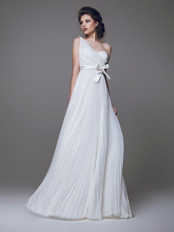 One Shoulder Wedding Dress With Bow At Waist And Knife Pleats