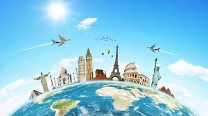 Viajando para conocer otros países.